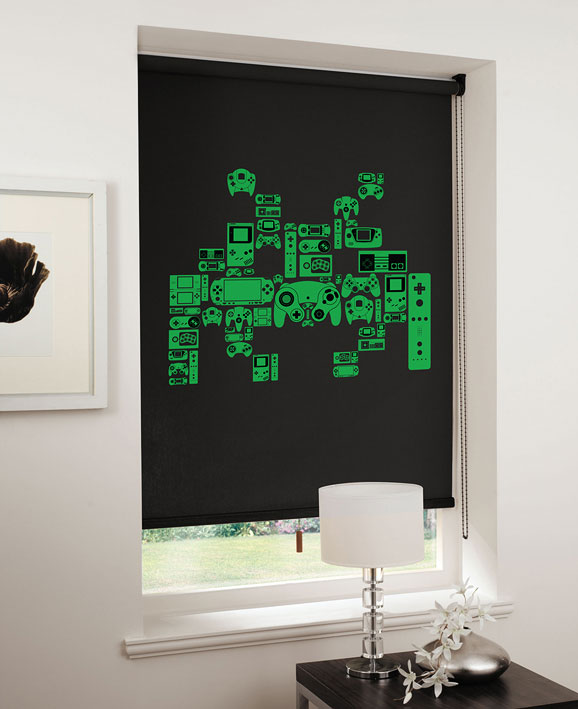 lifestyle spaceinvader green on black Game On: Relive the 8 bit era with designer blinds