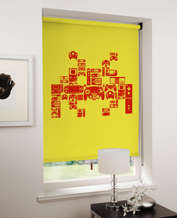 lifestyle spaceinvader red on yellow Game On: Relive the 8 bit era with designer blinds