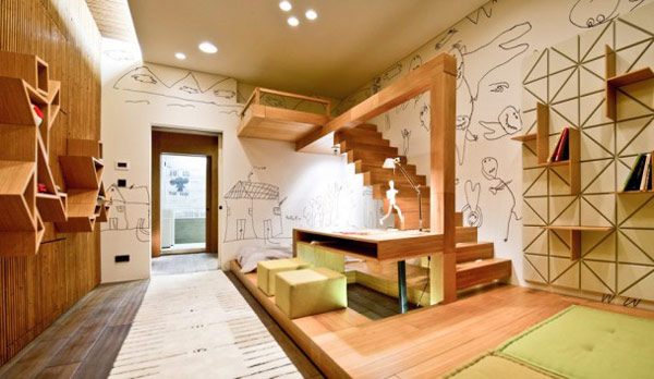 Childrens Room Art Studio D Fascinating Mix of Materials and Textures Showcased by Industrial Loft in Kiev