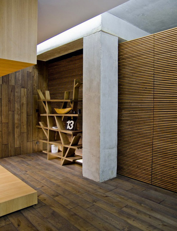 Contemporary Wood Cladding  Fascinating Mix of Materials and Textures Showcased by Industrial Loft in Kiev