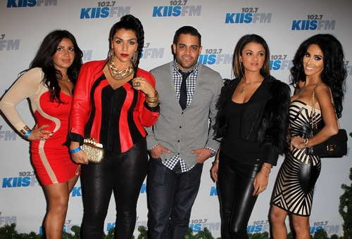 "The Shahs crew, Mercedes ""MJ"" Javid, Asa Soltan Rahmati, Mike Shouhed, Golnesa ""GG"" Gharachedaghi, Lilly Ghalichi, (minus Reza) hit up the KIIS FM's Jingle Ball 2012.  Photo Credit: FayesVision/WENN.com"