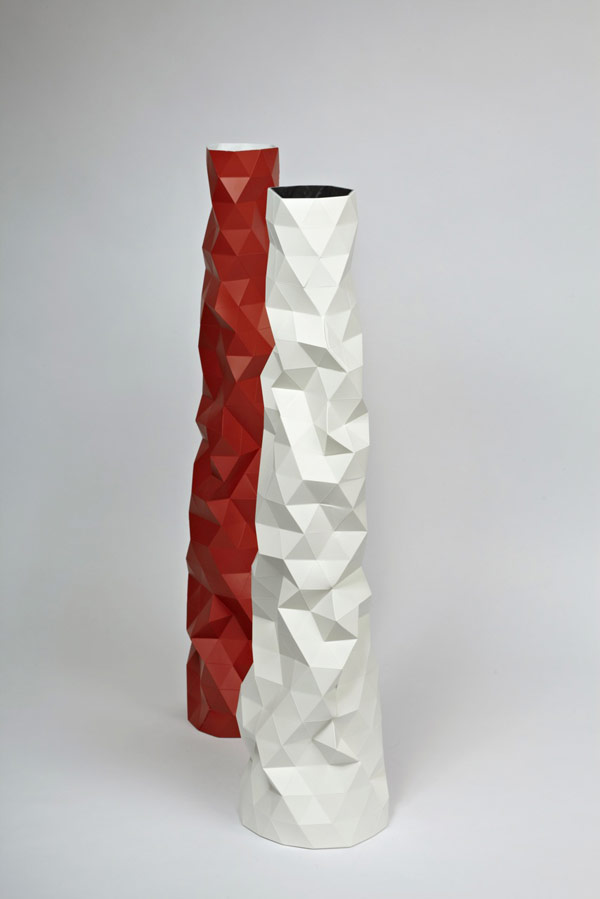 Faceture Vase red white Elegant Handmade FACETURE Vase by Phil Cuttance