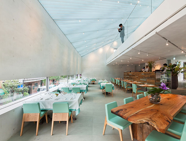 Dining Area2 Steel Contemporary Shaped Art Centre in South Korea