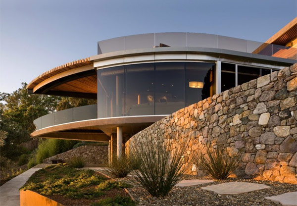Coastlands House facade Sustainable Home for Retired Couple in Big Sur, California: Coastlands House