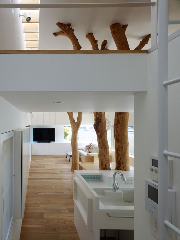 Details Living Room5 Contemporary Home in Japan Integrating Real Trees in The Structure