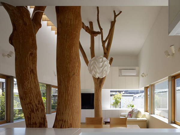 Interesting Interior Contemporary Home in Japan Integrating Real Trees in The Structure