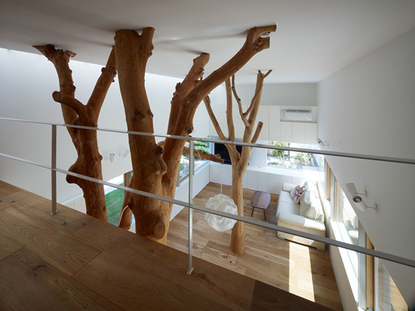 Upper Floor View Contemporary Home in Japan Integrating Real Trees in The Structure