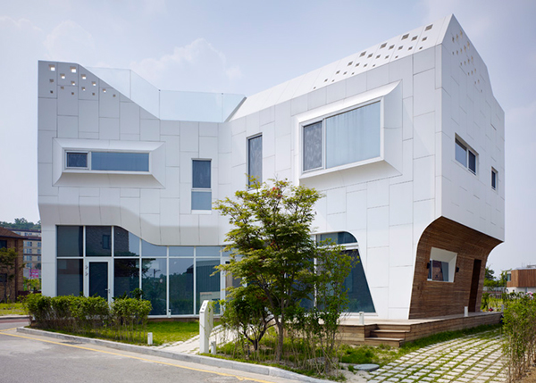 Office South Korea Curvy Eccentric White Residence With Square Perforations